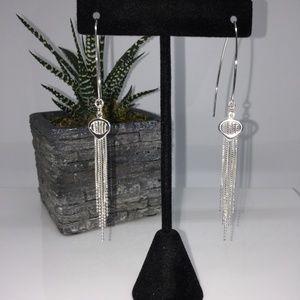 Jewelry - Sterling Silver Box Bead Tassel Drop Earrings